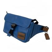 【COACH】專櫃款皮牌LOGO男款斜背腰包(藍)