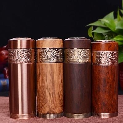 紫砂保溫瓶-古樸木紋磁化養身隨身攜帶保溫杯4色71f7【時尚巴黎】