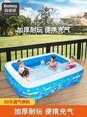 充氣泳池 兒童游泳池家用寶寶泳池可折疊小孩家庭室外充氣水池大型 WW