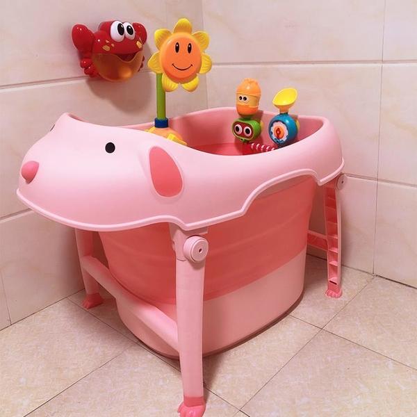 兒童澡盆 大號可折疊兒童泡澡桶寶寶嬰兒游泳桶家用洗澡浴桶小孩坐躺洗澡盆 米家WJ