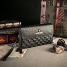 MANDE RHODE - 威尼斯MR-A - 真皮棋盤格紋雙拉鍊多夾層手拿包 - 3001