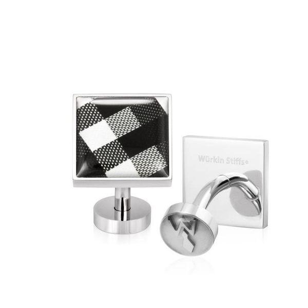 不鏽鋼袖釦 - CHECK BLACK 格紋黑 方形