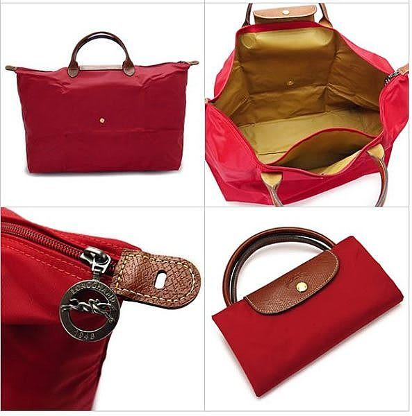 LONGCHAMP摺疊水餃包L 短帶 紅色 旅行袋(大款)