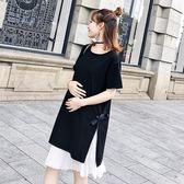 *漂亮小媽咪*韓國 兩件式 細肩 百褶 雪紡 短袖 開叉 綁帶 孕婦裝 長版衣 孕婦洋裝 D1026