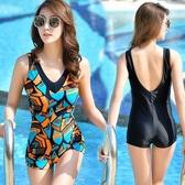 大碼運動游泳衣女士連體保守學生遮肚顯瘦泳裝溫泉性感修身泳衣