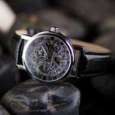 男士錶 手動上鍊鏤空機械表 復古表皮帶錶 大表盤男表