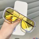 太陽眼鏡 網紅連體大框方形墨鏡女復古黃色太陽眼鏡男士開車防紫外線潮寶貝計畫 上新