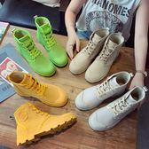 馬丁靴英倫風早秋新款帆布馬丁靴機車靴女平底系帶工裝靴高筒復 晶彩生活