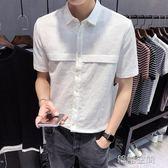 夏季新款短袖亞麻襯衫男士白色修身韓版潮流休閒襯衣青年純色寸衫