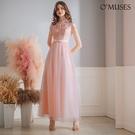 OMUSES 緹花網紗粉色旗袍長禮服