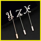 新年好禮 韓國男士西裝胸針 女款西服領針一字針插針 簡約時尚字母別針配飾