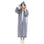 扣子款時尚成人雨衣 女 韓國風衣式旅游徒步成人雨衣長款防水雨