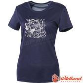 Wildland 荒野 0A61605-80藍紫色 女咖啡紗印花抗菌上衣 抗紫外線/彈性纖維/吸濕排汗/休閒衫/圓領T*