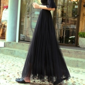 網紗裙 新款黑色網紗半身裙中長款女甜美高腰a字裙紗裙蓬蓬裙中長裙【星時代女王】
