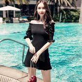 洋裝-仙女裙夏季新款韓版度假風荷葉邊一字肩修身顯瘦黑色連身裙女 Korea時尚記