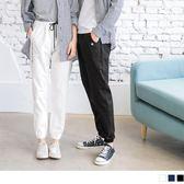 《KL0483-》情侶系列~小星星側英文印字腰綁帶高棉運動褲 OB嚴選