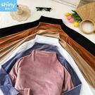 【V8234】shiny藍格子-簡約復古.純色半高領絲絨長袖上衣