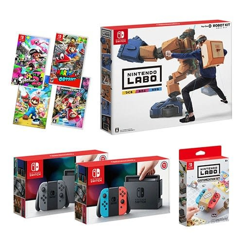 NS switch主機(送包+鋼化貼)+遊戲4選1+Labo Toy-Con02+ Labo裝飾套組