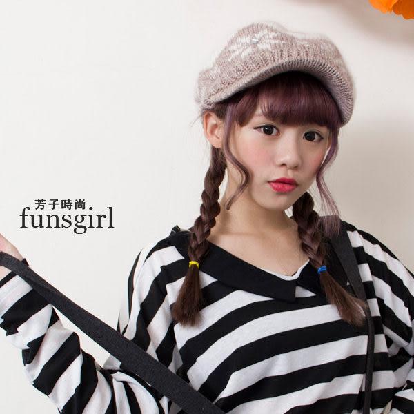 雪花毛毛帽沿報童帽5色~funsgirl芳子時尚