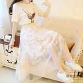 韓版小清新甜美T恤兩件套夏網紗中長款套裝裙子【時尚大衣櫥】