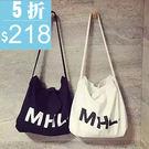 (全館一件免運)DE shop - 韓國復古字母MHL帆布袋牛仔布購物袋手提袋後背包 【PP - 330】