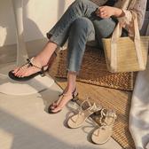 涼鞋女2020新款夏季夾趾珍珠粗跟網紅百搭夾腳低跟韓版仙女風ins