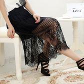 蕾絲裙(中長裙)-透視豎條蕾絲花型飄逸女裙子2色73x24[巴黎精品]