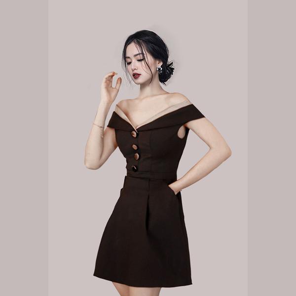 VK旗艦店 韓國風名媛露肩性感禮服單排釦口袋短袖洋裝