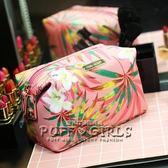 時尚韓國大容量化妝包女花朵包旅行便攜防水PU