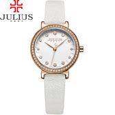 JULIUS 聚利時 翩翩花瓣舞鑽飾皮錶帶腕錶-時尚白/28mm【JA-965C】