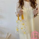 花花包包女可愛刺繡歐根紗手提包手拎透明購物袋【匯美優品】
