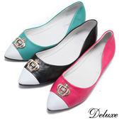【Deluxe】全真皮甜美撞色水鑽皇冠尖頭娃娃鞋(綠☆黑☆桃)