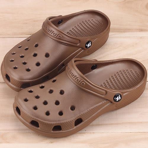 男女款 牛頭牌 NewBuffalo MIT製造涼拖兩穿式 布希鞋 洞洞鞋 園丁鞋 拖鞋 涼鞋 胡桃 59鞋廊