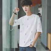 夏季短袖T恤男士韓版寬鬆青少年繡花五分袖圓領小清新潮流打底衫