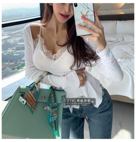 長袖T恤 兩件套爆款韓國時尚薄款小開衫 性感低胸蕾絲邊吊帶兩件套1F065-B1 韓依紡