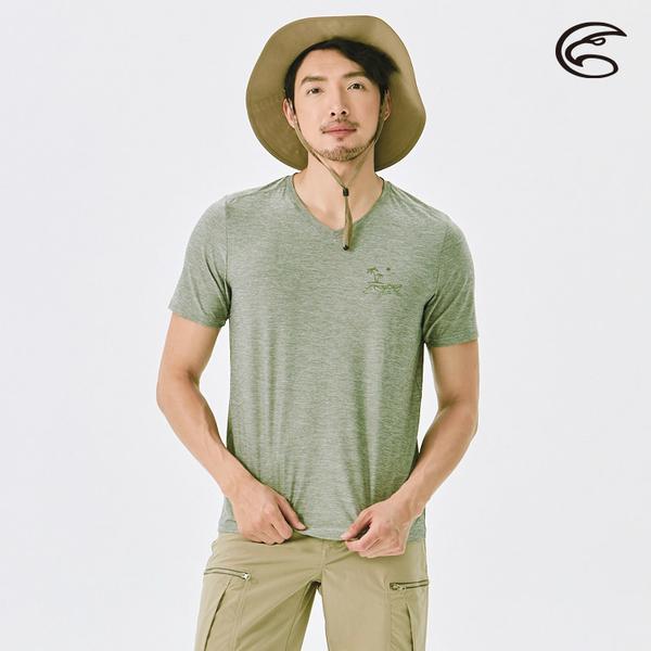 ADISI 男浪花洞洞短袖V領透氣圖T AL2111036 (S-2XL) / 吸濕 排汗 快乾 透氣網洞 排汗衣