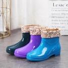 雨靴時尚雨鞋女生短筒保暖雨靴成人防滑水鞋女式防水膠鞋加絨水靴套鞋
