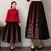 【免運】洋裝 春夏季民族風女裝棉麻復古花布 拼接鬆緊腰半身長裙 隨想曲