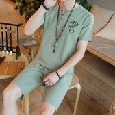 夏季唐裝 上衣短袖襯衫 中國風禪服 古風漢服 棉麻茶服套裝潮 降價兩天