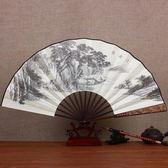 中國風10寸絲綢大絹扇子 古風折扇 雕刻手工藝禮品復古典男折疊扇竹【萬聖節推薦】