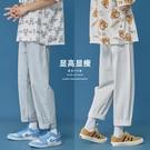 夏季純色休閑直筒牛仔褲男ins韓版簡約修身青年九分褲