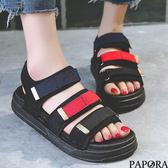 PAPORA運動風厚底平底休閒涼拖鞋KB69黑/紅(偏小)