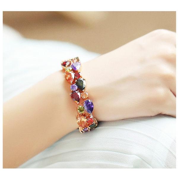奢華閃耀繽彩鋯石手鍊手環 玫瑰金  (0287)