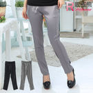 顯瘦--完美修飾光澤感車線鬆緊褲頭直筒長...