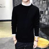 男士冬季上衣線衫修身圓領長袖打底衫毛衣針織衫加厚男裝黑色