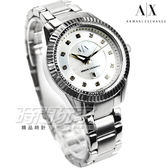 A|X  精品錶 晶鑽時刻彩亮女錶 中央彩亮貝殼面盤 不銹鋼 AX5430 ARMANI EXCHANGE 防水手錶