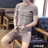 短袖t恤男士圓領夏裝2019新款韓版學生半袖冰絲套裝男帥氣體恤衫    JSY時尚屋