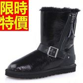 中筒雪靴-漆皮正韓側拉鏈真皮革女靴子3色62p47[巴黎精品]