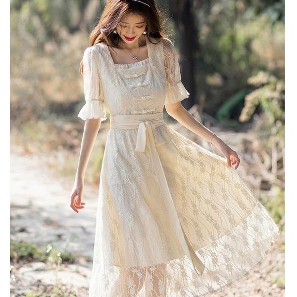 古典方領鎖骨腰綁結蕾絲五分袖長洋裝[99123-QF]美之札