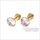 kate spade The Sparkle黑桃LOGO圓形設計鑽鑲飾穿式耳環(金x丁香紫)